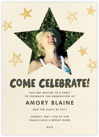 Reach for the Stars (Invitation) - Gold - Hello!Lucky - Celebration invitations