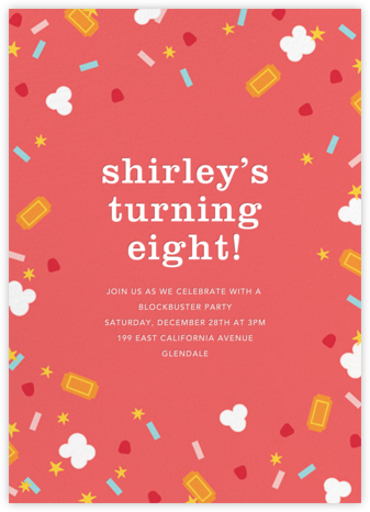 Filmfetti - Pink - Paperless Post - Online Kids' Birthday Invitations