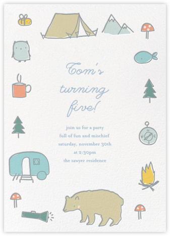 Bear's Necessities - White - Little Cube - Online Kids' Birthday Invitations