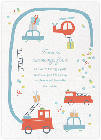 Five-Alarm Party - Little Cube - Kids' birthday invitations