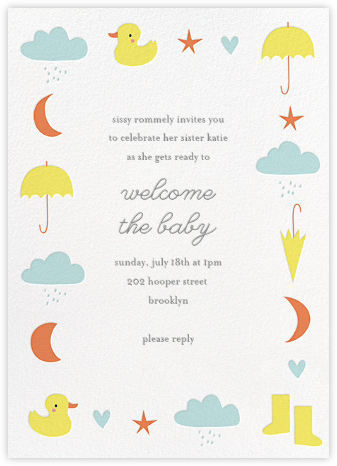 Little Duck's Big Splash - Yellow - Little Cube - Baby Shower Invitations