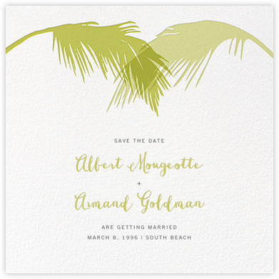 Tropical Palm (Save the Date) - Chartreuse - Paperless Post - Save the dates