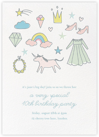 Diary Doodles - Little Cube - Unicorn invitations