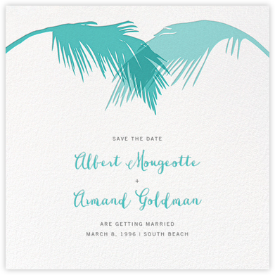 Tropical Palm (Save the Date) - Lagoon - Paperless Post - Save the dates