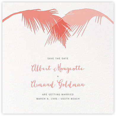 Tropical Palm (Save the Date) - Papaya - Paperless Post - Destination Save the Dates