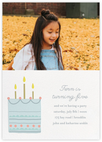 Little Layer Cake - Blue - Little Cube - First Birthday Invitations