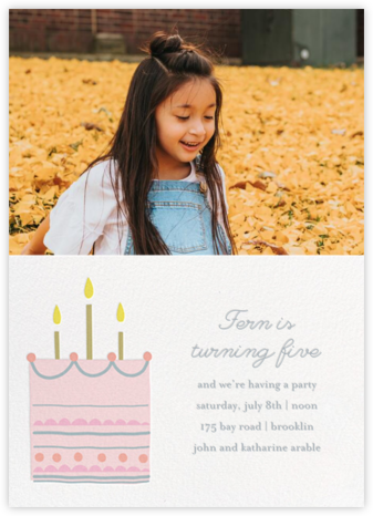 Little Layer Cake - Pink - Little Cube - First Birthday Invitations