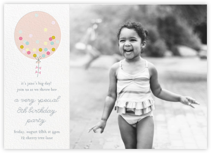 Confetti Balloon - Pink - Little Cube - Kids' Birthday Invitations