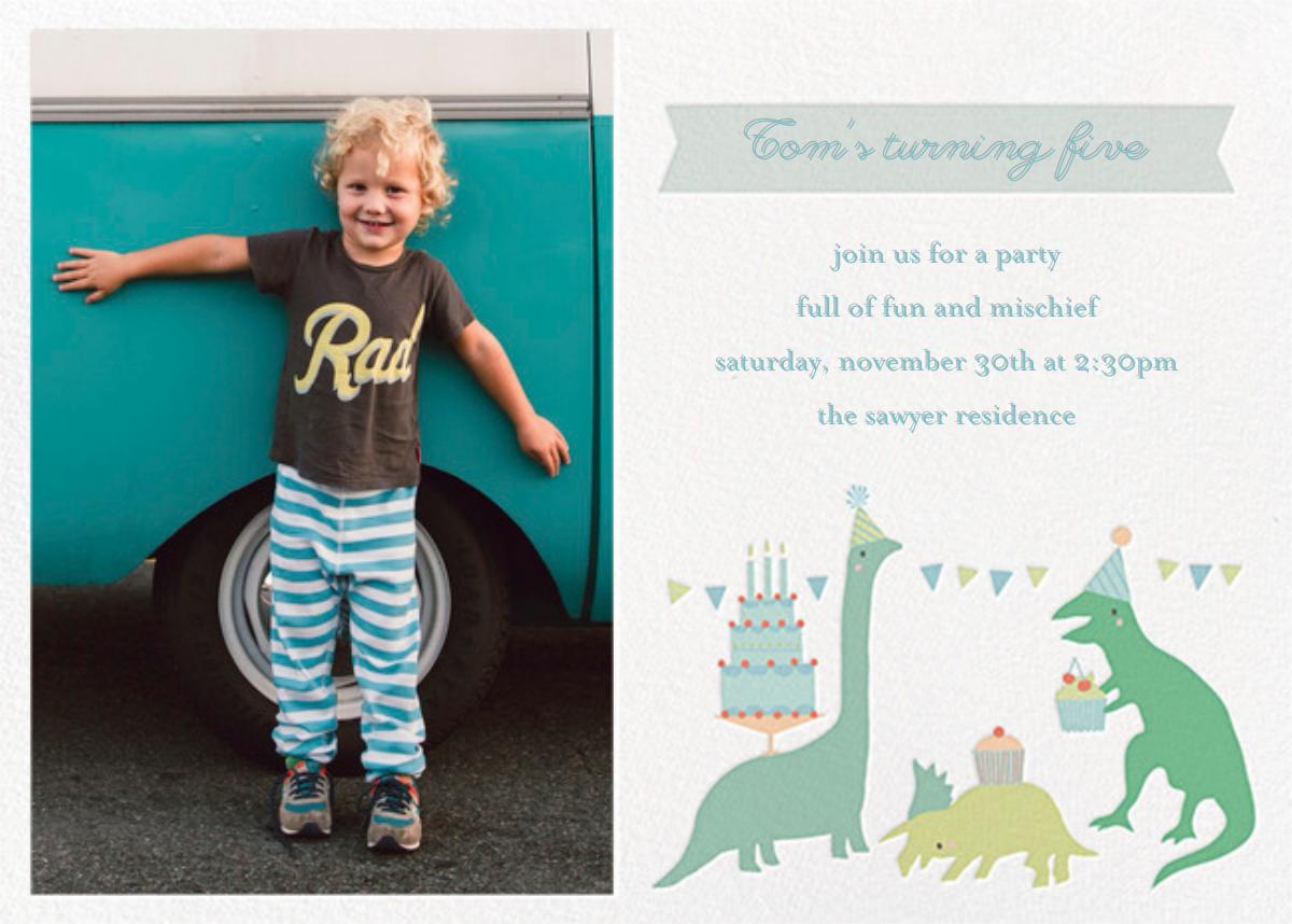 Bronty's Birthday Bash (Photo) - Little Cube - Kids' birthday invitations