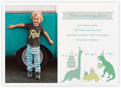 Bronty's Birthday Bash (Photo) - Little Cube - Kids' birthday invitations