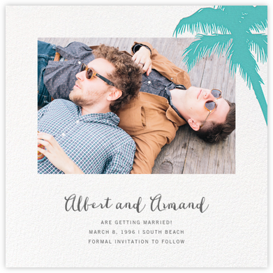 Tropical Palm (Photo Save the Date) - Lagoon - Paperless Post - Save the dates
