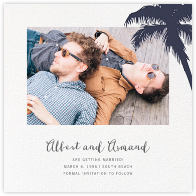 Tropical Palm (Photo Save the Date) - Navy - Paperless Post - Destination Save the Dates