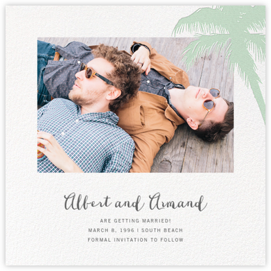 Tropical Palm (Photo Save the Date) - Mint - Paperless Post - Save the dates