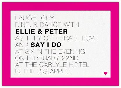 Memoir (Invitation) - Bright Pink - Paperless Post - Wedding Invitations