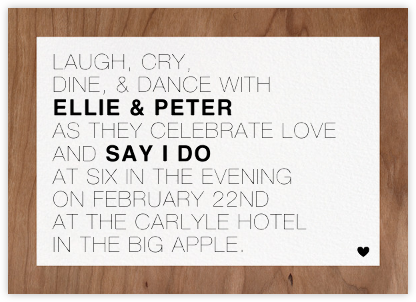 Memoir (Invitation) - Wood - Paperless Post - Wedding Invitations