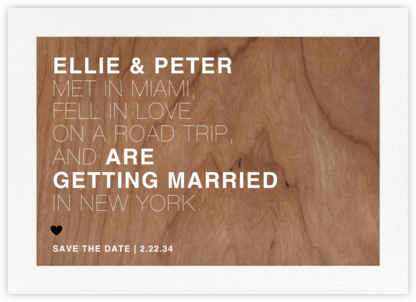Memoir (Save the Date) - Wood - Paperless Post - Save the dates