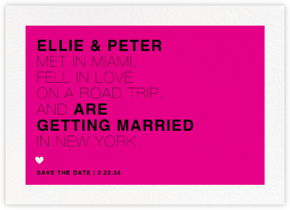 Memoir (Save the Date) - Bright Pink - Paperless Post - Modern save the dates
