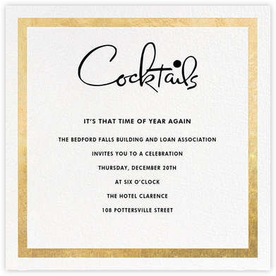 Classic Vintage - Gold/Black - kate spade new york - Business Party Invitations