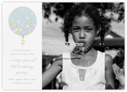 Confetti Balloon - Blue - Little Cube - Online Kids' Birthday Invitations