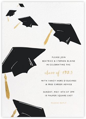 Downpour of Caps - Black - Paperless Post - Celebration invitations