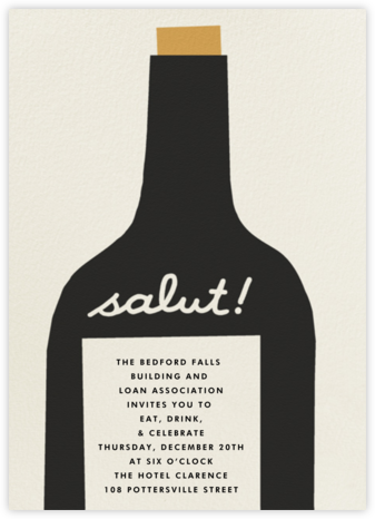Wine Salut - Black - The Indigo Bunting - Reception invitations