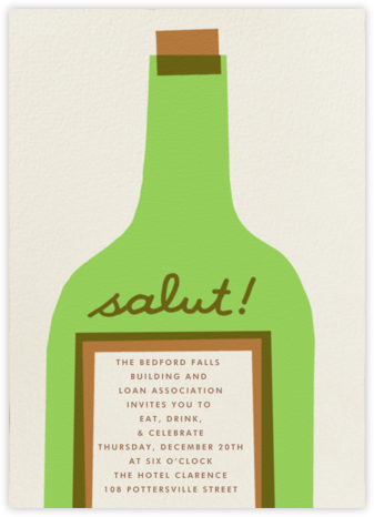 Wine Salut - Green - The Indigo Bunting - Business event invitations
