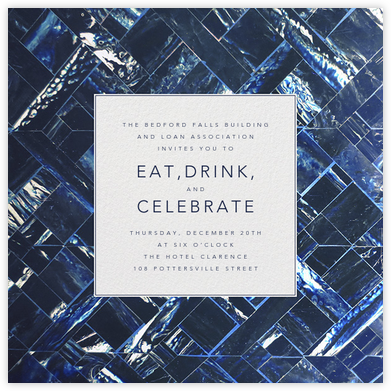 Marble - Indigo - Oscar de la Renta - Reception invitations