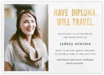 Have Diploma (Photo) - Gold - kate spade new york - Online Party Invitations