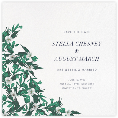 Snowrose Hedge (Save the Date) - White - Paperless Post -