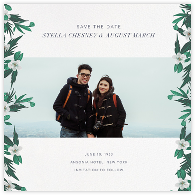 Snowrose Hedge (Photo Save the Date) - White - Paperless Post - Save the Date with Photo