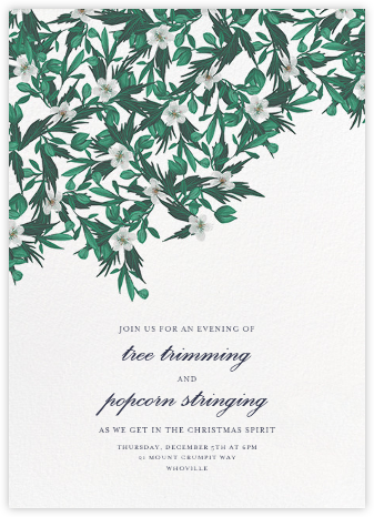 Snowrose Hedge - White - Paperless Post - Holiday party invitations