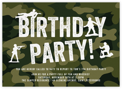 Toy Soldiers - Paper + Cup - Kids' birthday invitations