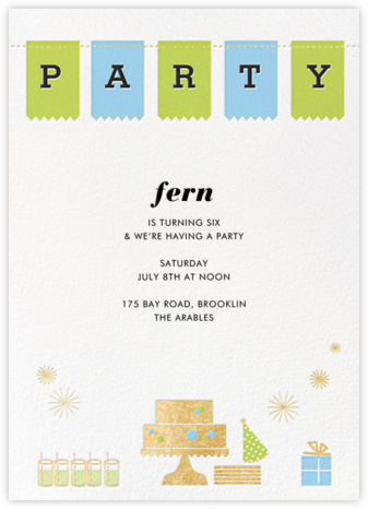 Birthday Party Banner - Green - Paper + Cup - Paper + Cup