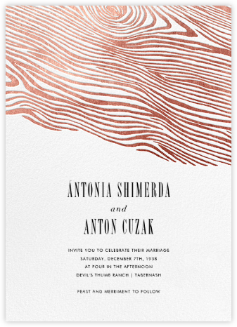 Burlwood II - Rose Gold - Paperless Post - Modern wedding invitations
