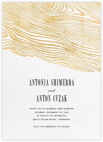 Burlwood II - Gold - Paperless Post - Wedding Invitations
