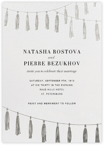 Tasseled II - Silver - Paperless Post - Wedding Invitations