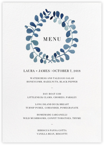 Mirabell (Menu) - Blue - Linda and Harriett - Wedding menus and programs - available in paper