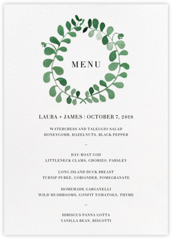 Mirabell (Menu) - Green - Linda and Harriett - Wedding menus and programs - available in paper