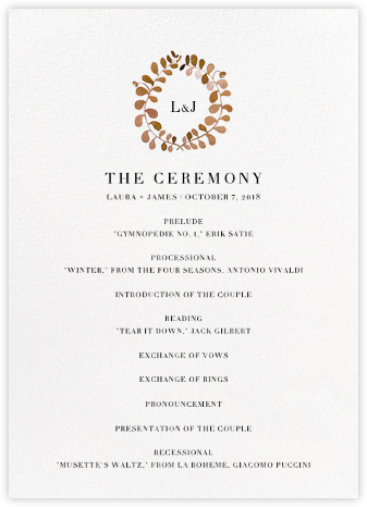 Mirabell (Program) - Sepia - Linda and Harriett - Wedding menus and programs - available in paper