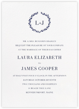 Sonoma (Invitation) - Royal Blue - Linda and Harriett - Wedding Invitations
