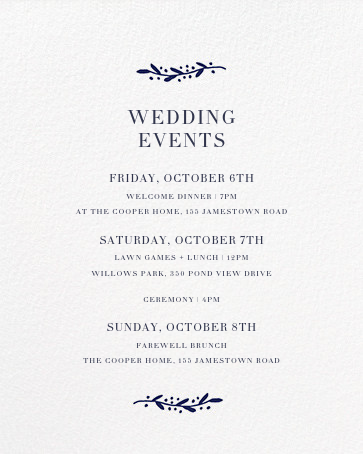 Sonoma (Invitation) - Royal Blue - Linda and Harriett - All - insert front