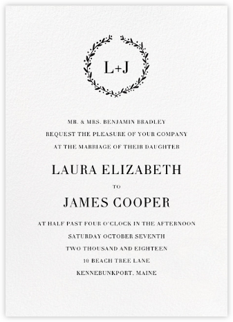 Sonoma (Invitation) - Black - Linda and Harriett - Wedding Invitations