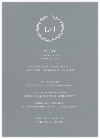 Sonoma (Menu) - Chinchilla  - Linda and Harriett - Wedding menus and programs - available in paper
