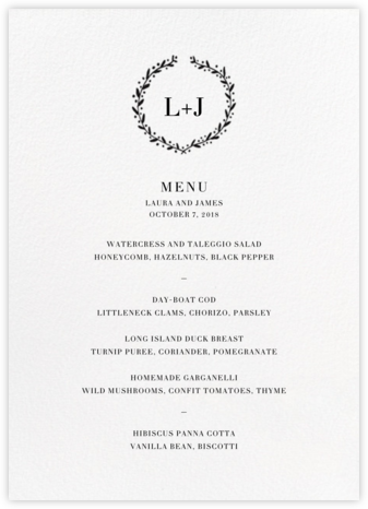 Sonoma (Menu) - Black - Linda and Harriett - Wedding menus and programs - available in paper