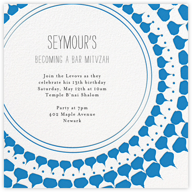 Spec in Capri - Blue - Mr. Boddington's Studio - Bat and Bar Mitzvah Invitations
