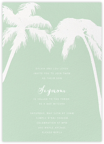 Tropical Palm - Mint - Paperless Post - Bar and Bat Mitzvah Invitations