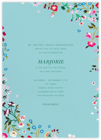 Embroidered Floral - Aquamarine - Oscar de la Renta - Bat and Bar Mitzvah Invitations