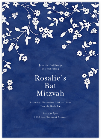 Floral Trellis II - Blue/White - Oscar de la Renta - Bat and Bar Mitzvah Invitations
