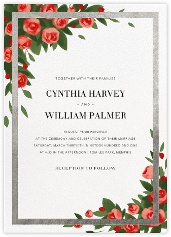 Teablossom (Invitation) - Silver/Red - Paperless Post -