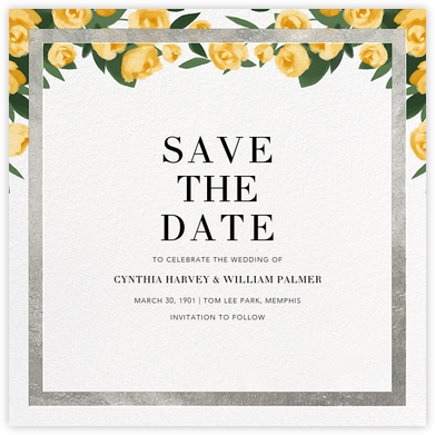 Teablossom (Save the Date) - Silver/Yellow - Paperless Post - Save the dates
